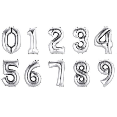 "40"" Silver Mylar Foil Number Helium Balloons - 8"