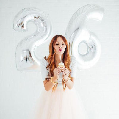"40"" Silver Mylar Foil Number Helium Balloons - 7"