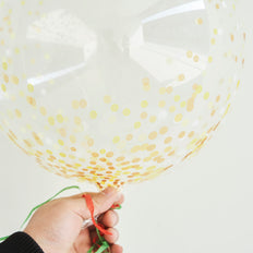 2 Pack | 20 inch Gold Confetti Dots Air Helium PVC Deco Bubble Balloons