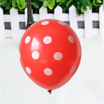 12 CLOUD 9 Latex Polkadot Balloons- Balloons -25/pk Red