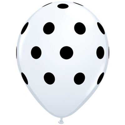 "12"" CLOUD 9 Latex Polkadot Balloons- Balloons -25/pk White"