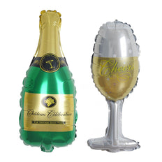 "14"" Champagne Bottle and Goblet Air Helium Foil Wholesale Mylar Balloons Set"