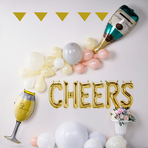 "39"" Champagne Bottle and Goblet Mylar Foil Air Helium Balloons Set"