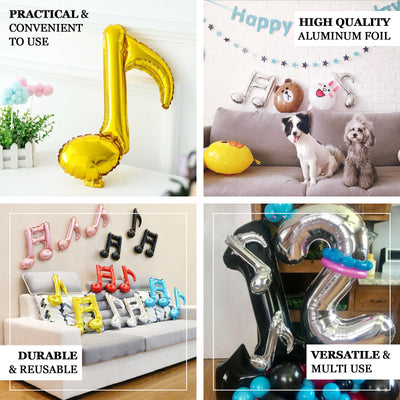 6 Pack | Silver | 16th & 8th Musical Notes Foil Mylar Balloons