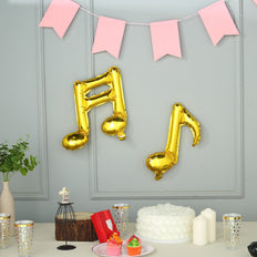 6 Pack | Gold | 16th & 8th Musical Notes Foil Wholesale Mylar Balloons