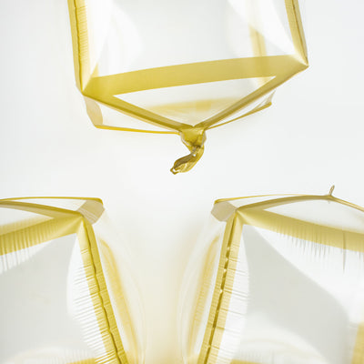 "3 Pack | 13"" Gold Trim Clear 4D Cube Balloons"