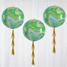 3 Pack | 13 inches Green Marble 4D Orbz Balloons | Round Sphere Foil Mylar Balloons