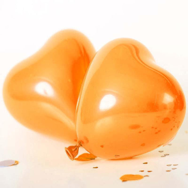 "25 Pack | 12"" Orange HAPPY HEART Wholesale Latex Balloons Helium"