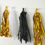 47 Pcs Black/Gold Decoration Kit with Foil Latex Balloon and Pom Tassels