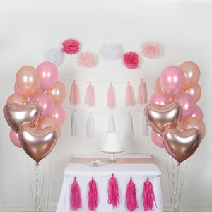 47 Pcs Pink/White Decoration Kit with Foil Latex Balloon and Pom Tassels