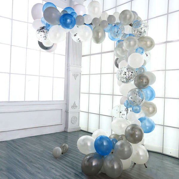 120 Pack DIY Balloon Garland Kit, Balloon Arch Party Decorations - Light Blue | White | Silver | Clear