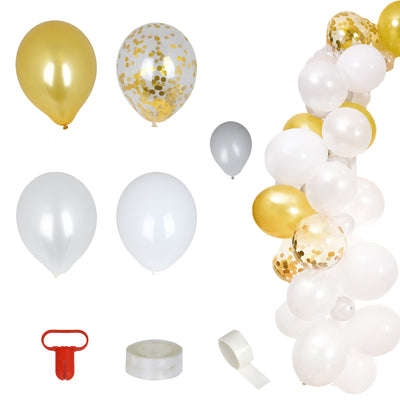 100 Pack DIY Balloon Garland Kit | Balloon Arch Party Decoration - Gold | White | Silver | Clear
