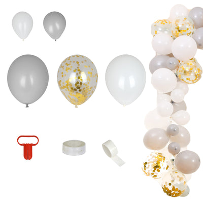 102 Pack DIY Balloon Garland Kit | Balloon Arch Party Decoration - White | Gray | Clear