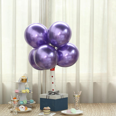 "25 Pack | 12"" Chrome Purple Metallic Latex Helium Balloons"