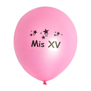 "25 Pack | 12"" Metallic Latex Balloons - Quinceanera"