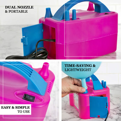 600W Dual Nozzle Electric Balloon Pump Air Blower Balloon Inflator