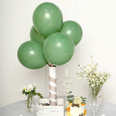 25 Pack | 12 inch Pastel Dusty Sage Round Latex Balloons | Matte Color Helium Balloons