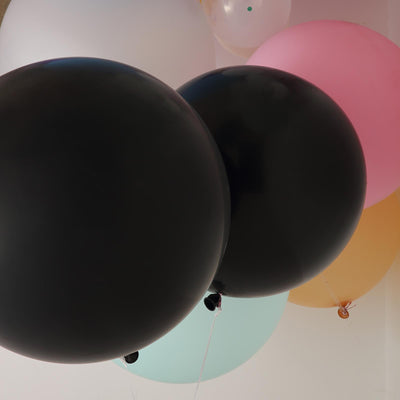"2 Pack | 32"" Large Black Round Latex Balloons 