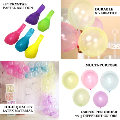 100 Pack | 12 inch Helium Balloons, Crystal Pastel Latex Balloons - Assorted Colors