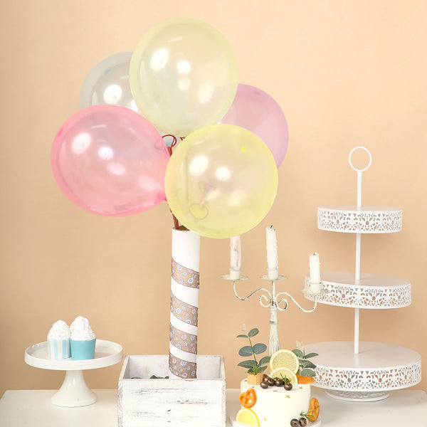 "100 Pack | 12"" Helium Balloons, Crystal Pastel Latex Balloons - Assorted Colors"