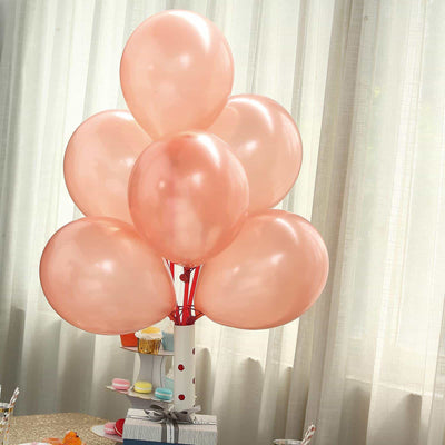 "25 Pack | 12"" Rose Gold Pearl Balloons 
