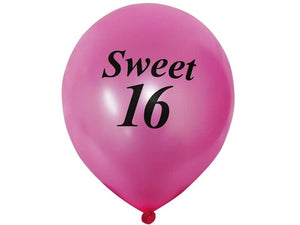 "12"" Metallic Latex Balloons- Happy Sweet Sixteen-25/pk"