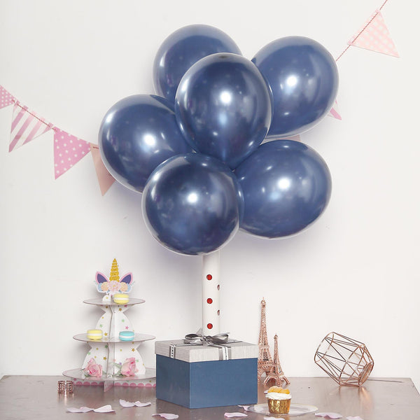 "25 Pack | 12"" Navy Blue Pearl Balloons 