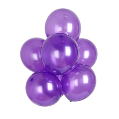 "25 Pack 12"" Purple Metallic Latex Water Air Helium Party Balloons"