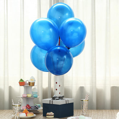 "25 Pack 12"" Royal Blue Metallic Latex Water Air Helium Party Balloons"