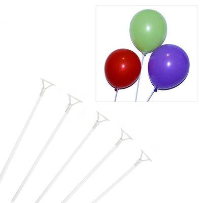 "10 Pack |30"" Clear Plastic Balloons Column Stand Sticks"