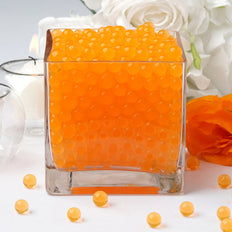 200 to 250 PCS | Orange Small Round Deco Water Absorbing Beads Jelly Vase Filler Balls