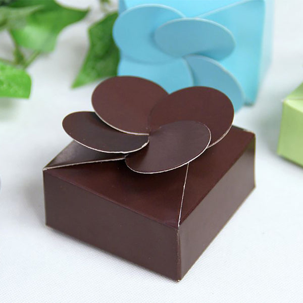 100 PCS Chocolate Petal Top Favor Boxes | Gift Box for Wedding Favors