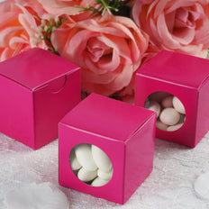 "100 PCS | 2"" Square Fushia DIY Cardstock Box - Clear PVC Window Boxes - Candy Favor Boxes"