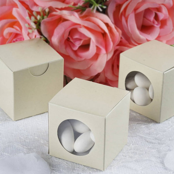 "100 PCS | 2"" Square Ivory DIY Cardstock Box - Clear PVC Window Boxes - Candy Favor Boxes - Clearance SALE"