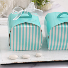 10 PCS White / Turquoise Striped Cupcake Favor Boxes - Clearance SALE