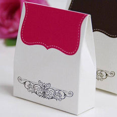100 PCS Fushia Tapestry Favor Boxes