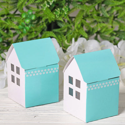 100 PCS Blue House Favor Boxes