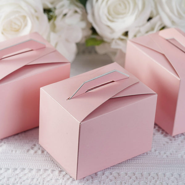 "100 PCS | Pink Tote Favor Boxes - 4""x3""x3"" - Clearance SALE"