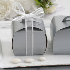 25 Pack | Silver Cupcake Party Favor Boxes - Clearance SALE