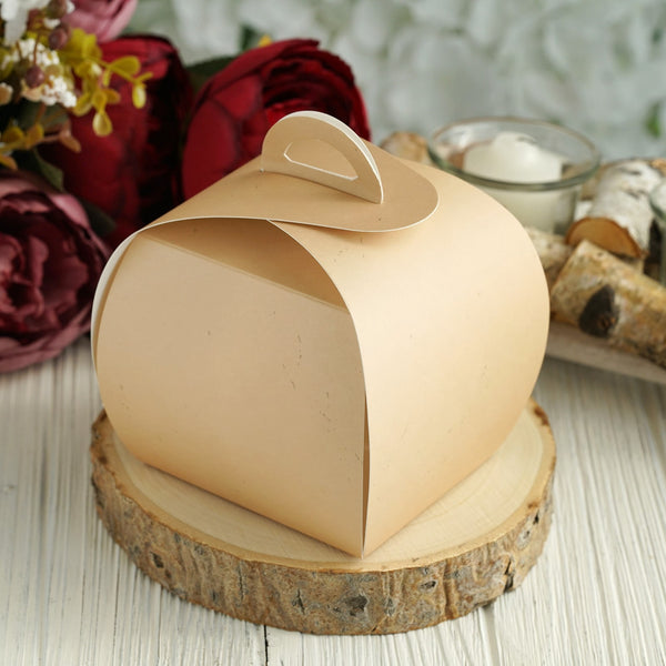 25 Pack | Tan Party Cupcake Boxes | Wedding Favor Boxes - Clearance SALE