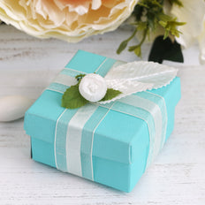 "100 Pack | Turquoise 2 Pcs Favor Boxes - 2.5"" x 2.5"" x 1.5"""
