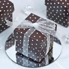 "100 Pack | Chocolate With White Polka Dots 2"" Square 2 Pcs Favor Boxes"
