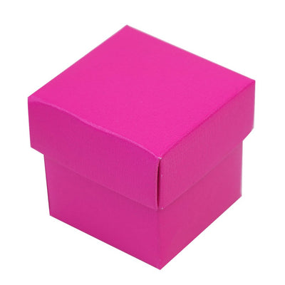 "100 Pack | Fushia 2"" square 2 Pcs Favor Boxes"