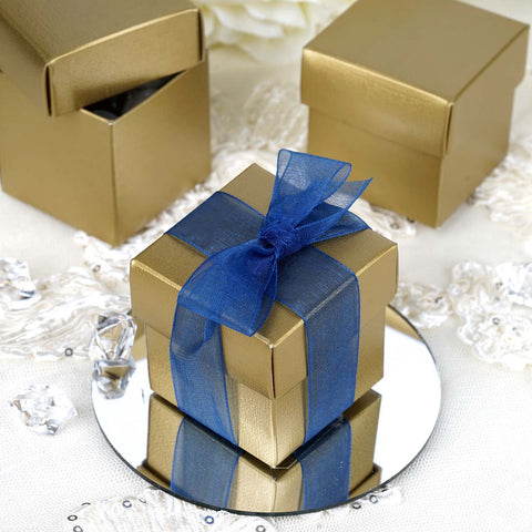 Gold Favor Box with a Blue Ribbon