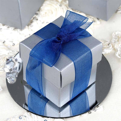 "100 Pack | Matte Silver 2"" Square 2 Pcs Favor Boxes"