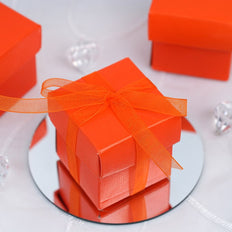 "100 Pack | Orange 2"" square 2 Pcs Favor Boxes"