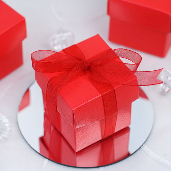 "100 Pack | Red 2"" square 2 Pcs Favor Boxes- Clearance SALE"