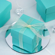 "100 Pack | Turquoise 2"" Square 2 Pcs Favor Boxes"