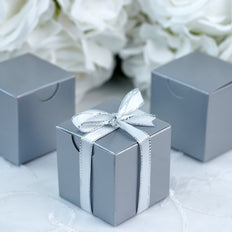 "100 Pcs | 2""x2"" Silver Party Favor Boxes"