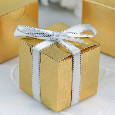 "100 Pcs | 2""x2"" Gold Party Favor Boxes"